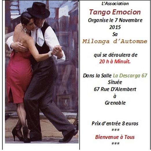 Milonga  d' Automne Tango Emocion le 7 Novembre 2015
